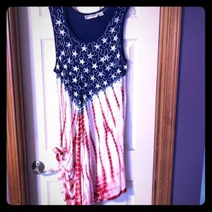 5/$25 Red. White & Blue Patriotic Tank Dress